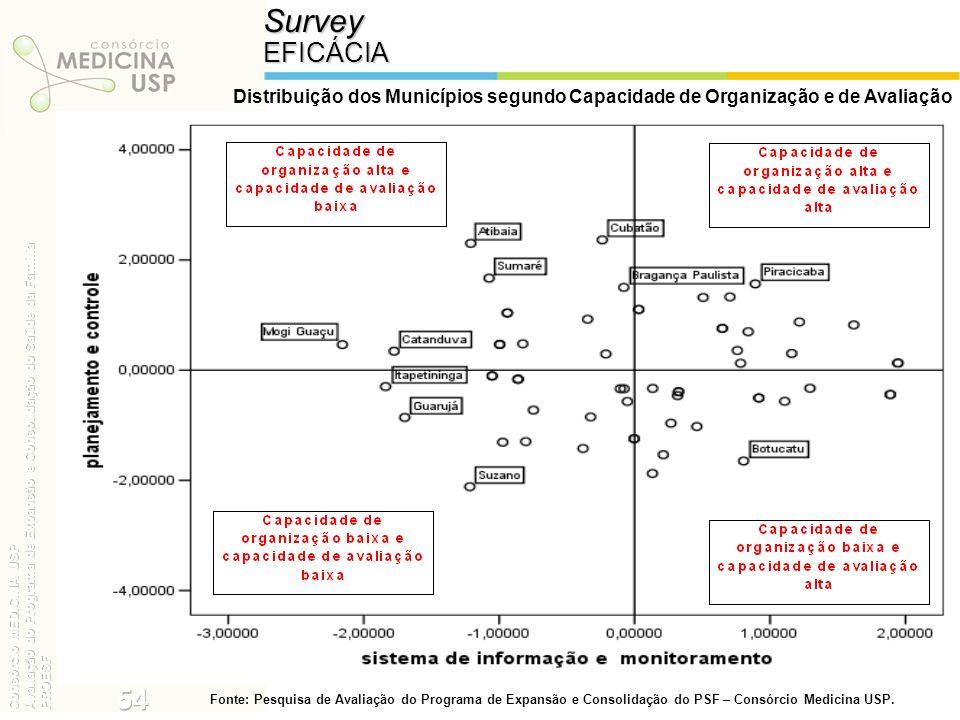 Survey EFICÁCIA. Distribuição dos Municípios segundo Capacidade de Organização e de Avaliação.