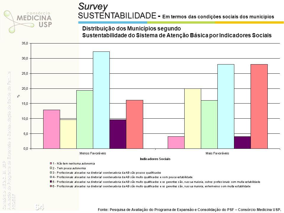 Survey SUSTENTABILIDADE - Em termos das condições sociais dos municípios. Distribuição dos Municípios segundo.