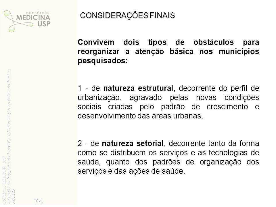 CONSIDERAÇÕES FINAIS Convivem dois tipos de obstáculos para reorganizar a atenção básica nos municípios pesquisados: