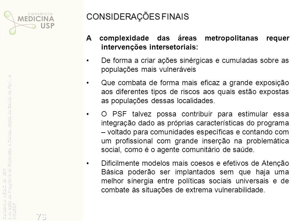 CONSIDERAÇÕES FINAIS A complexidade das áreas metropolitanas requer intervenções intersetoriais: