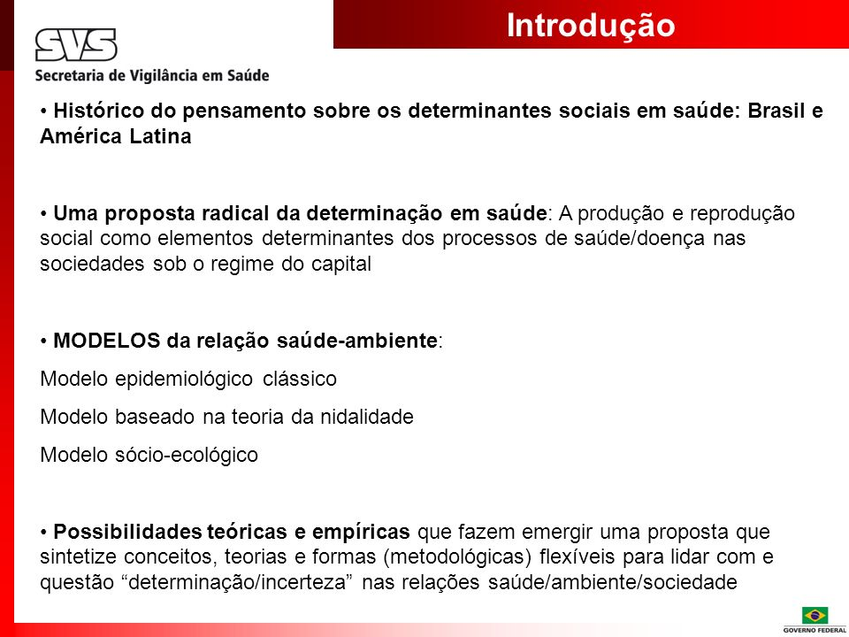 IntroduçãoHistórico do pensamento sobre os determinantes sociais em saúde: Brasil e América Latina.