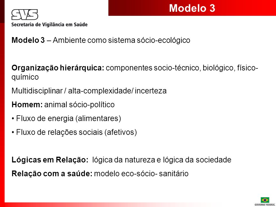 Modelo 3 Modelo 3 – Ambiente como sistema sócio-ecológico