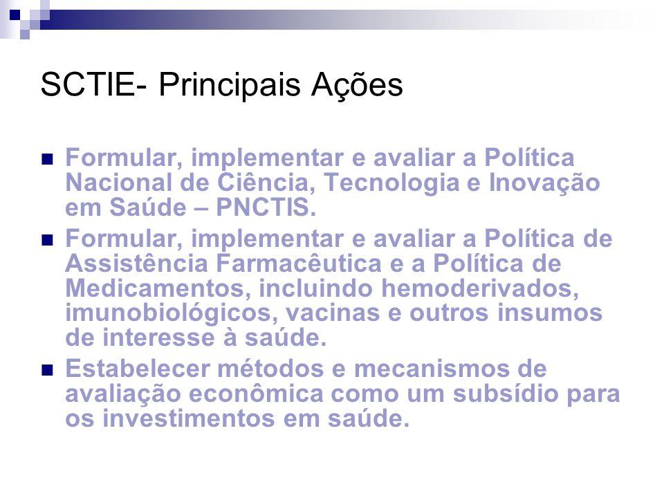 SCTIE- Principais Ações