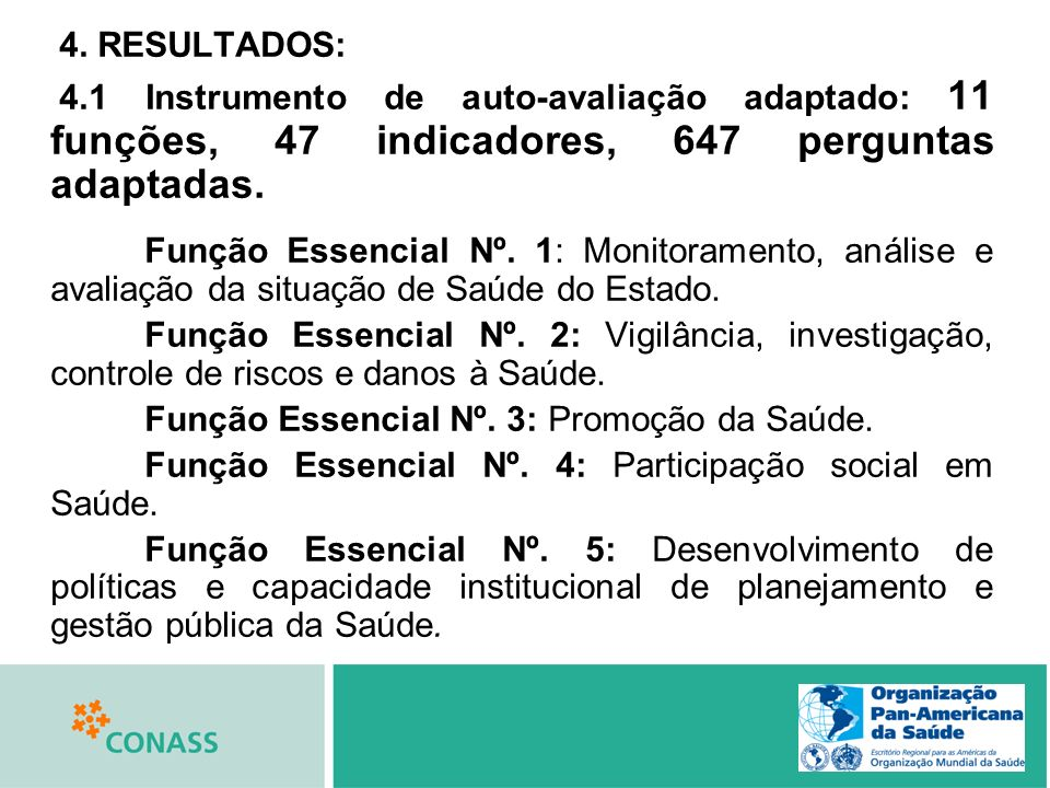 4. RESULTADOS: 4.1 Instrumento de auto-avaliação adaptado: 11 funções, 47 indicadores, 647 perguntas adaptadas.