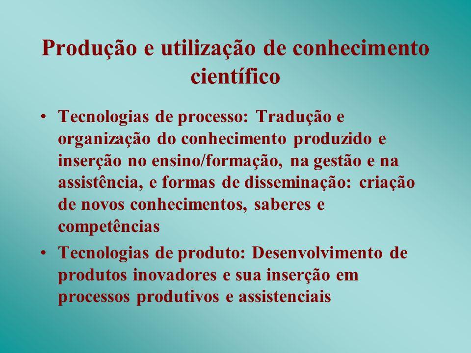 Produção e utilização de conhecimento científico