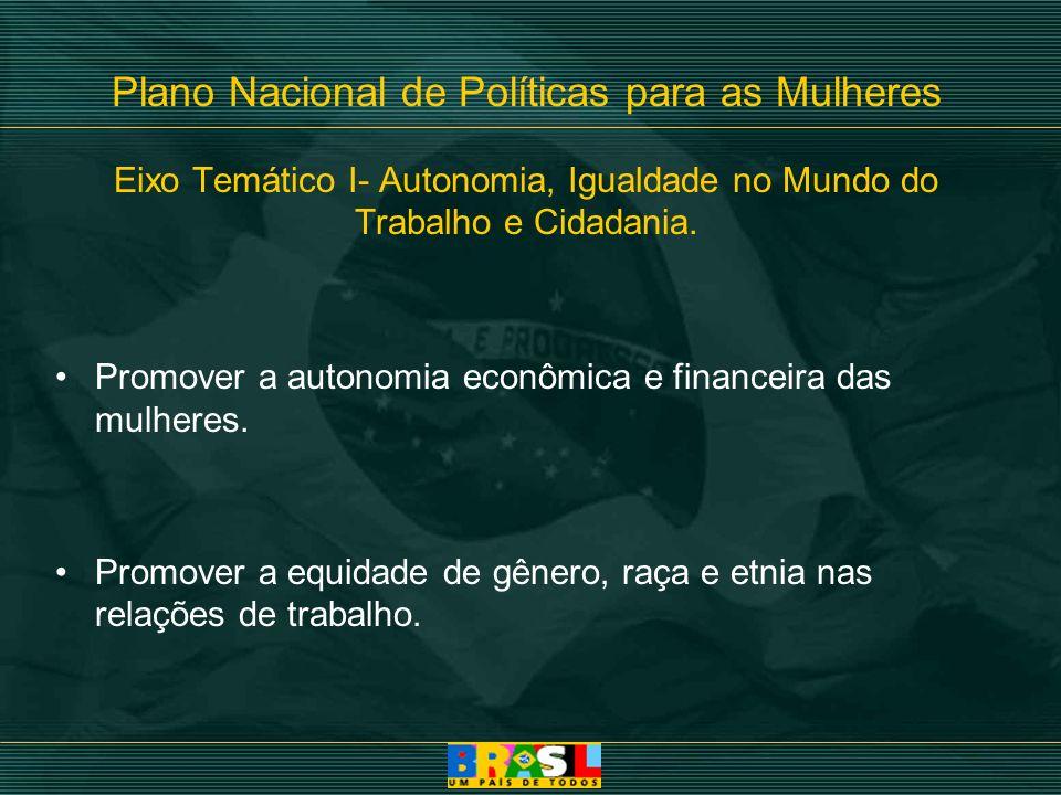 Plano Nacional de Políticas para as Mulheres Eixo Temático I- Autonomia, Igualdade no Mundo do Trabalho e Cidadania.