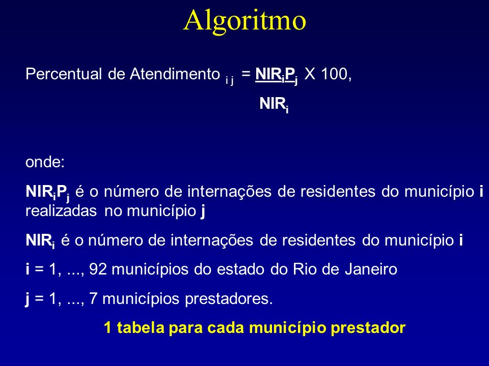 1 tabela para cada município prestador