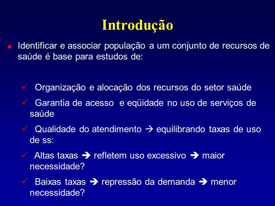 Introdução Identificar e associar população a um conjunto de recursos de saúde é base para estudos de: