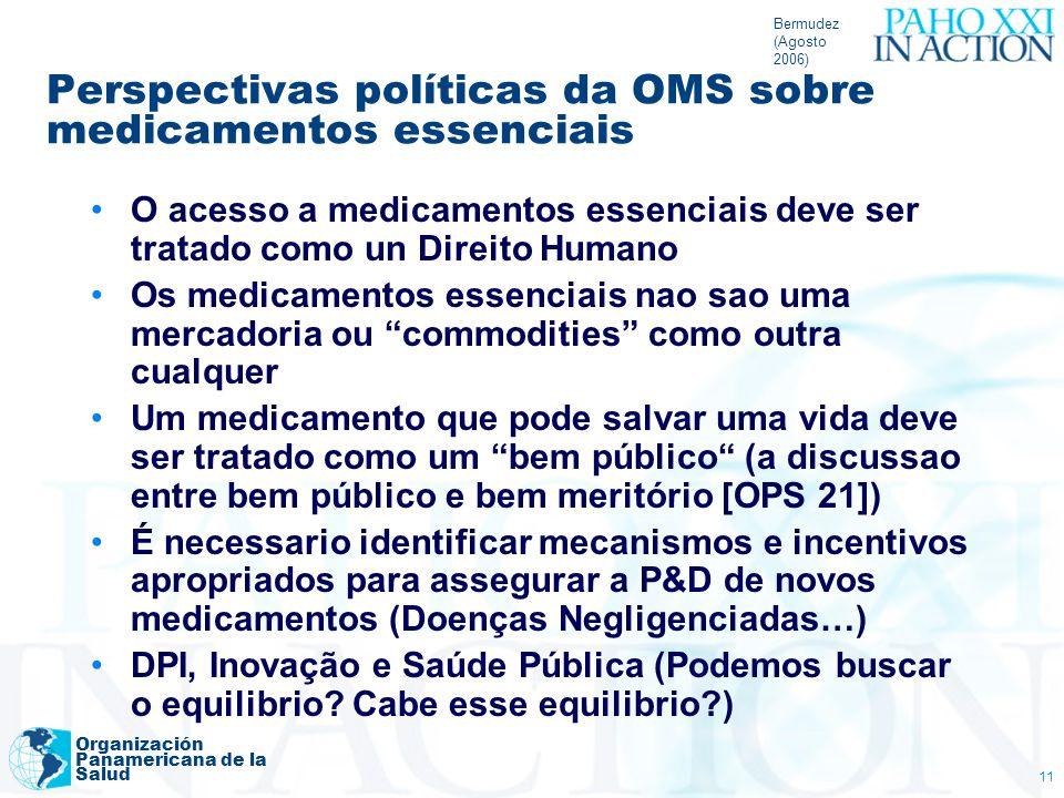 Perspectivas políticas da OMS sobre medicamentos essenciais
