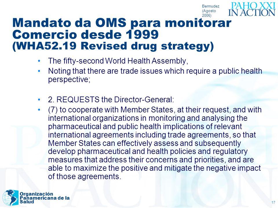 Bermudez (Agosto 2006) Mandato da OMS para monitorar Comercio desde 1999 (WHA52.19 Revised drug strategy)