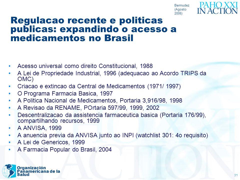 Bermudez (Agosto 2006) Regulacao recente e politicas publicas: expandindo o acesso a medicamentos no Brasil.