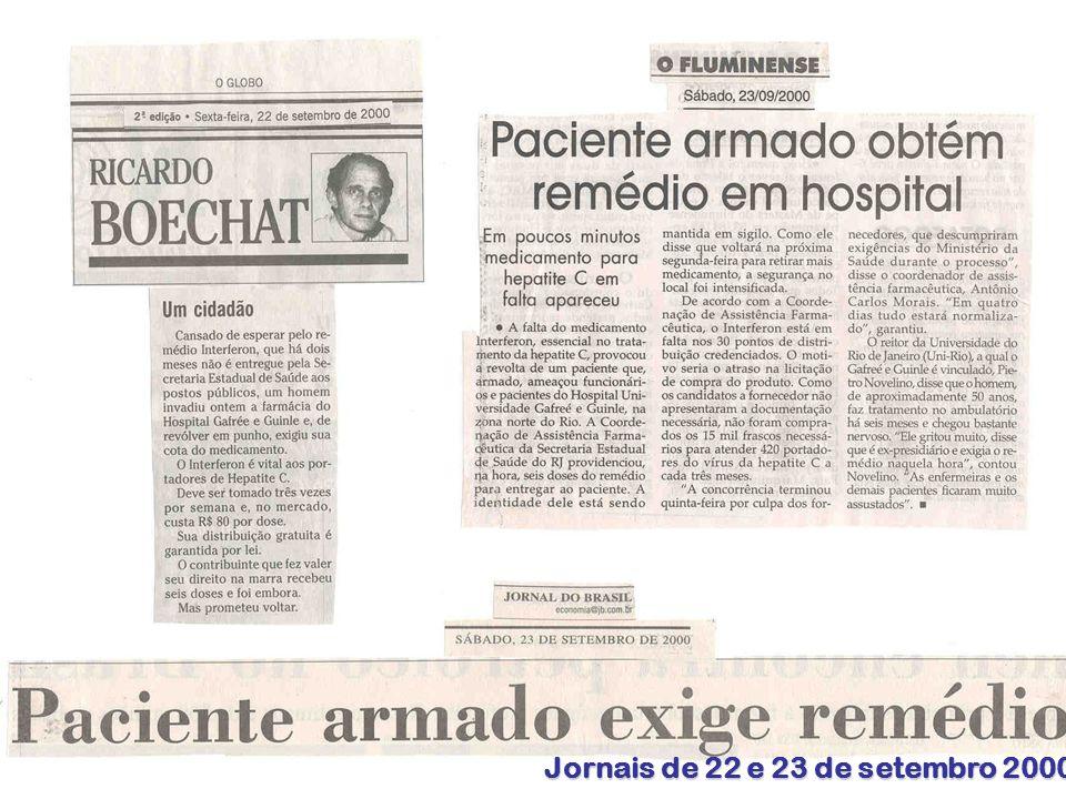 Jornais de 22 e 23 de setembro 2000