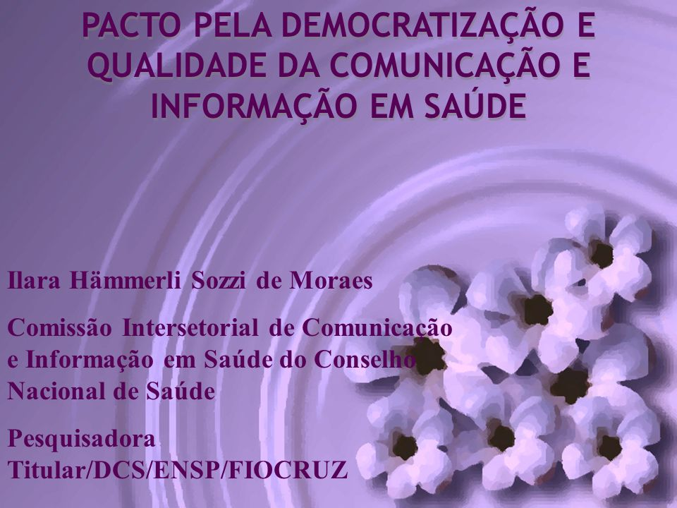 PACTO PELA DEMOCRATIZAÇÃO E QUALIDADE DA COMUNICAÇÃO E INFORMAÇÃO EM SAÚDE