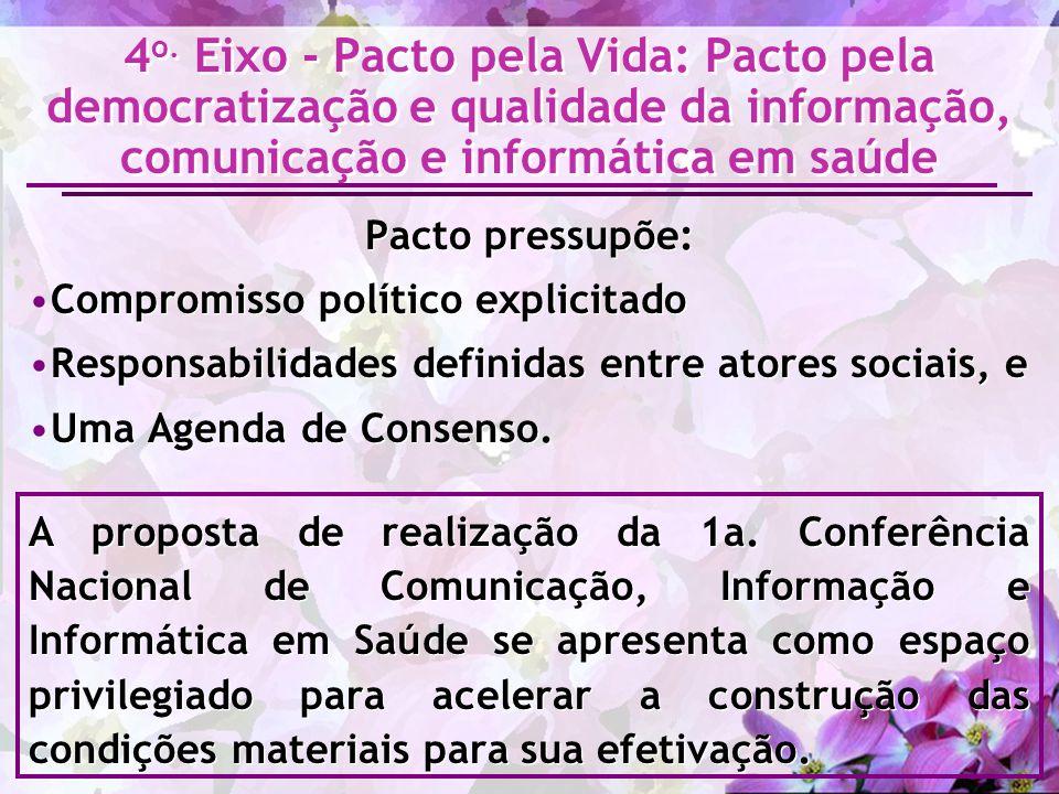 4o. Eixo - Pacto pela Vida: Pacto pela democratização e qualidade da informação, comunicação e informática em saúde