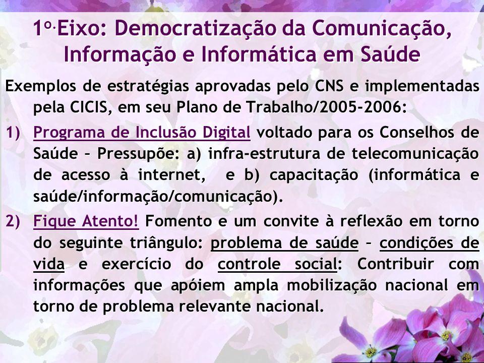 1o.Eixo: Democratização da Comunicação, Informação e Informática em Saúde