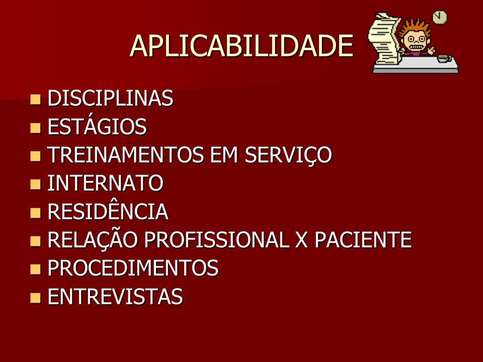 APLICABILIDADE DISCIPLINAS ESTÁGIOS TREINAMENTOS EM SERVIÇO INTERNATO
