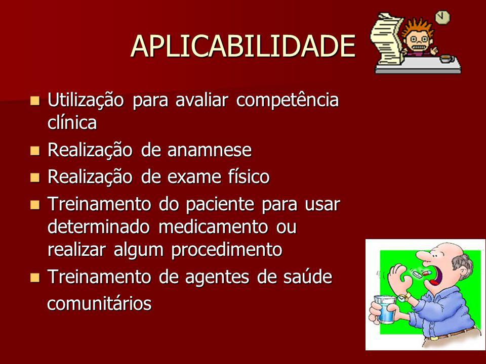 APLICABILIDADE Utilização para avaliar competência clínica