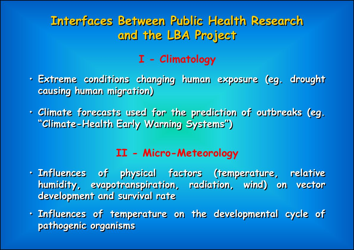 Interfaces Between Public Health Research and the LBA Project