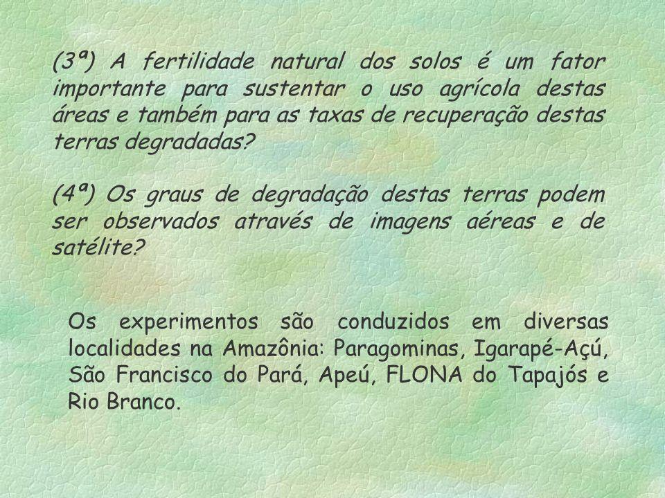(3ª) A fertilidade natural dos solos é um fator importante para sustentar o uso agrícola destas áreas e também para as taxas de recuperação destas terras degradadas