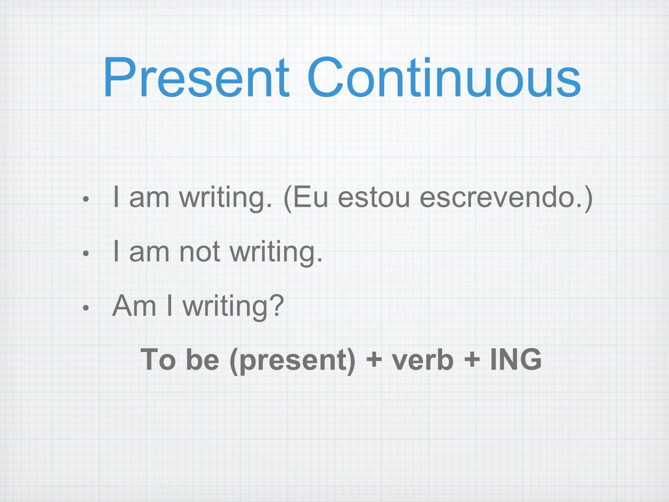 To be (present) + verb + ING