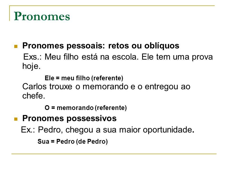Pronomes Pronomes pessoais: retos ou oblíquos