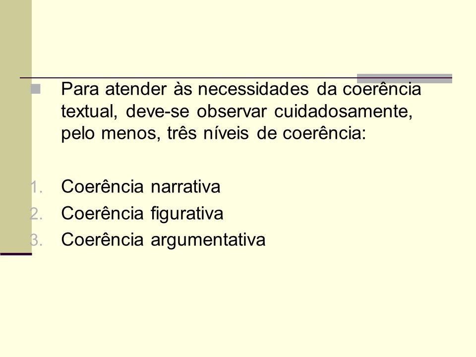 Para atender às necessidades da coerência textual, deve-se observar cuidadosamente, pelo menos, três níveis de coerência: