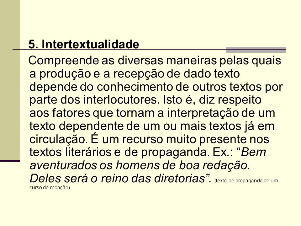 5. Intertextualidade