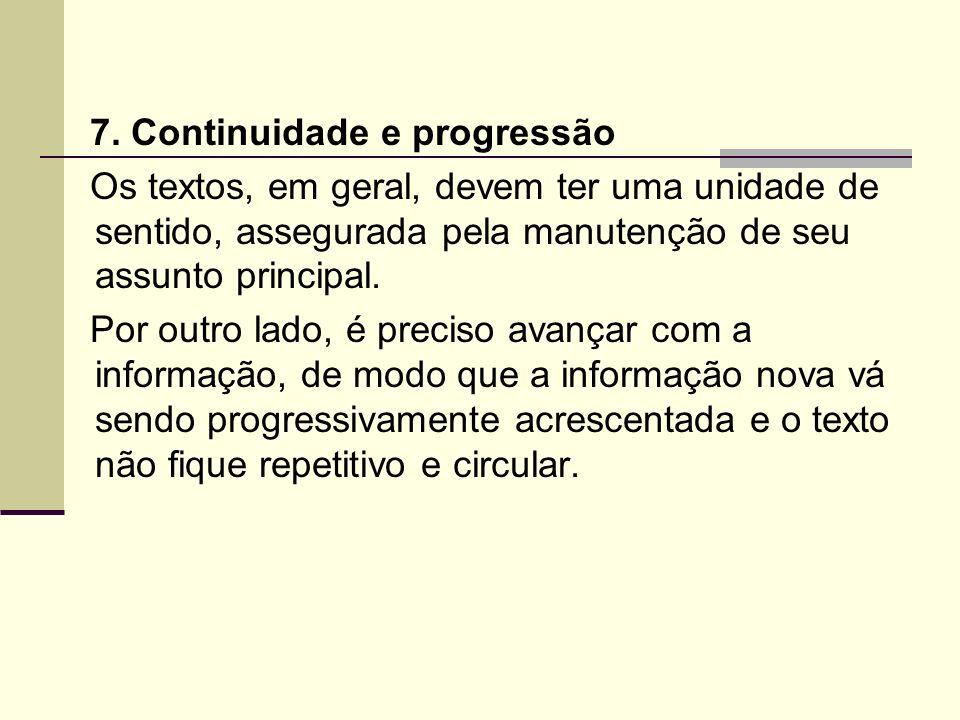 7. Continuidade e progressão