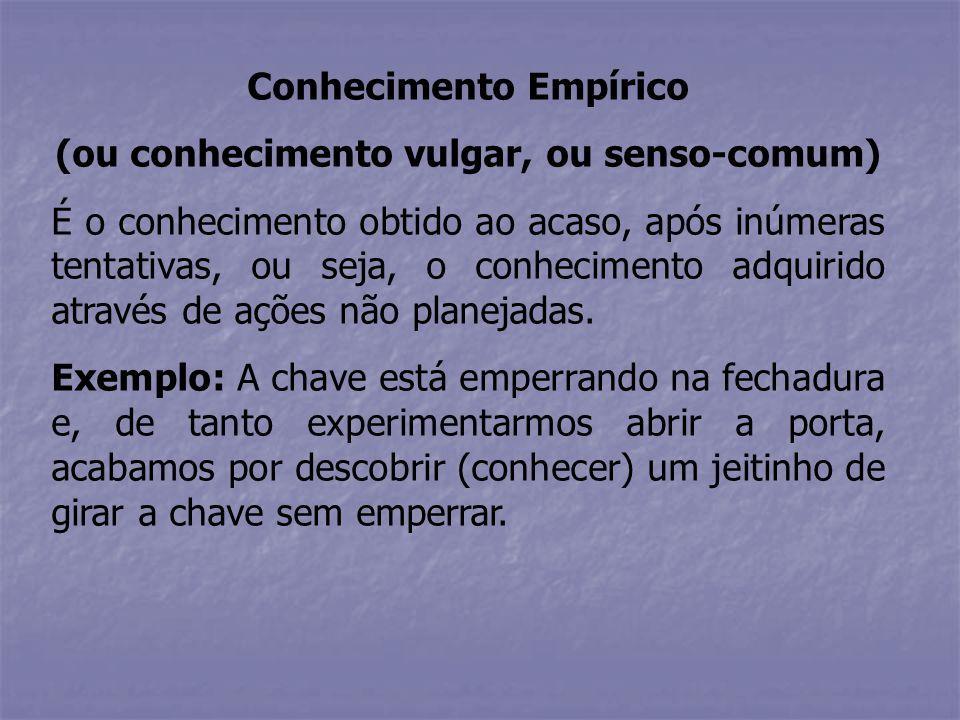 Conhecimento Empírico (ou conhecimento vulgar, ou senso-comum)
