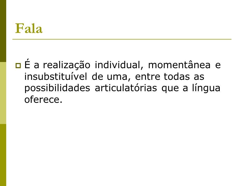 Fala É a realização individual, momentânea e insubstituível de uma, entre todas as possibilidades articulatórias que a língua oferece.