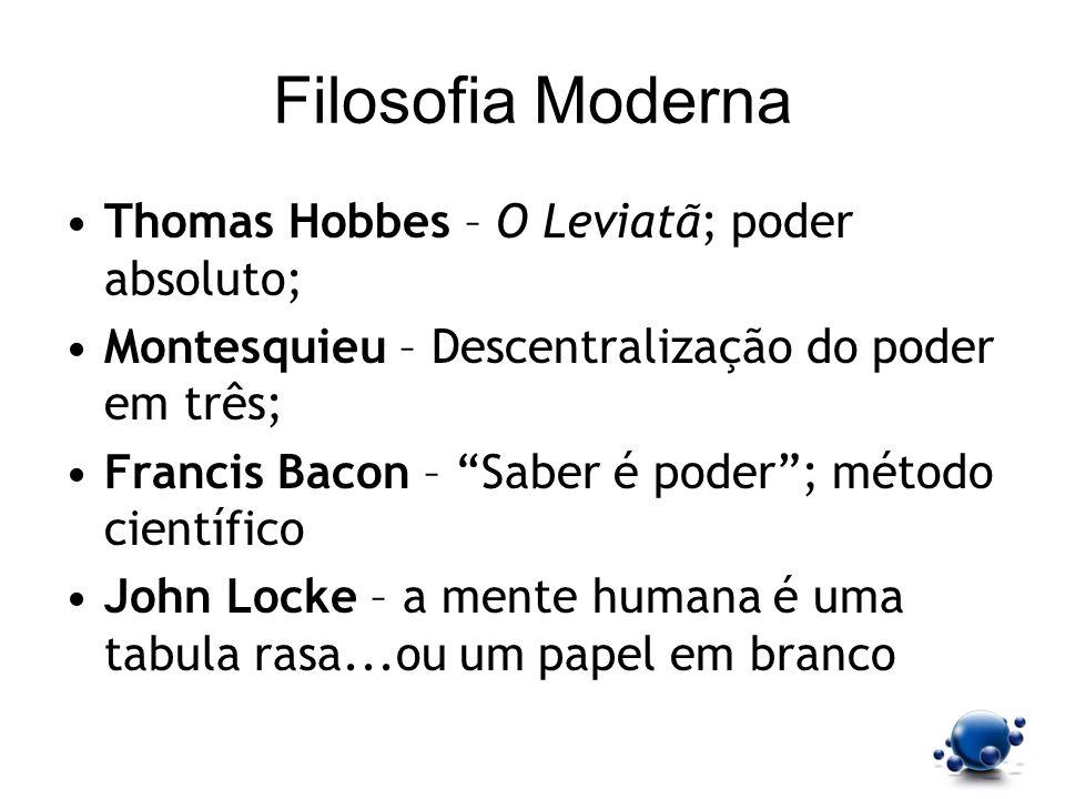 Filosofia Moderna Thomas Hobbes – O Leviatã; poder absoluto;