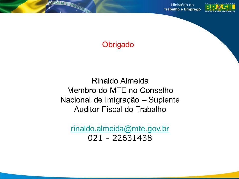 Membro do MTE no Conselho Nacional de Imigração – Suplente