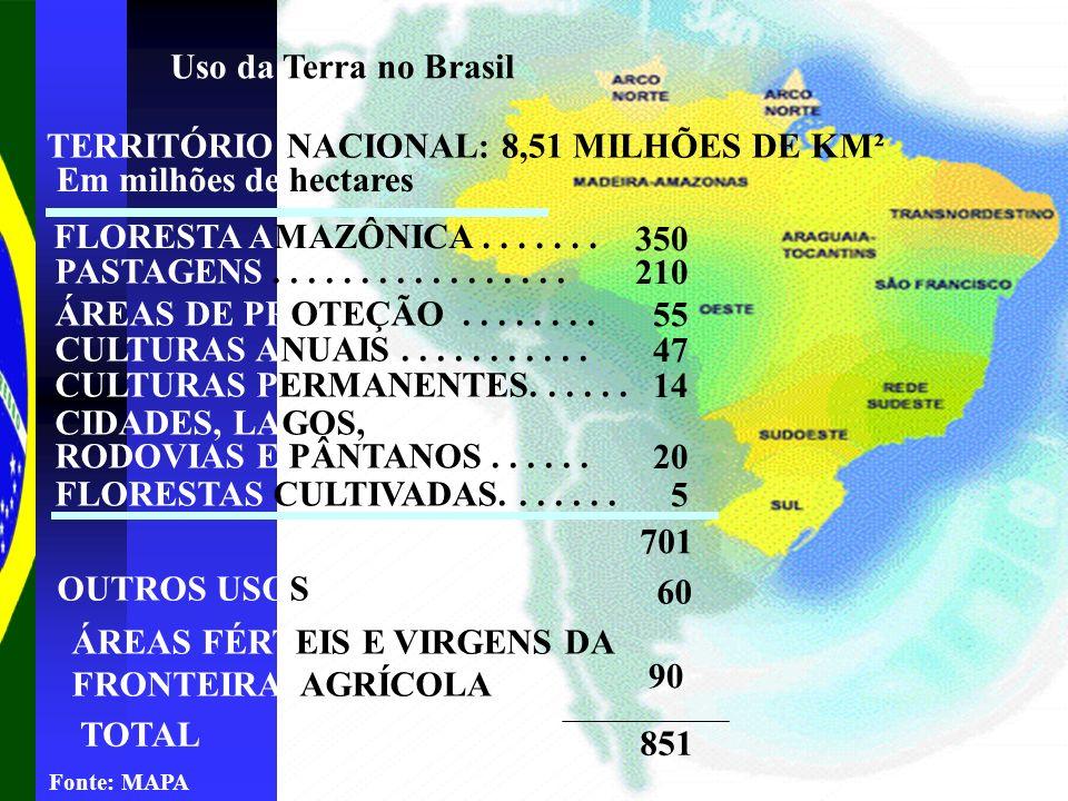 TERRITÓRIO NACIONAL: 8,51 MILHÕES DE KM² Em milhões de hectares