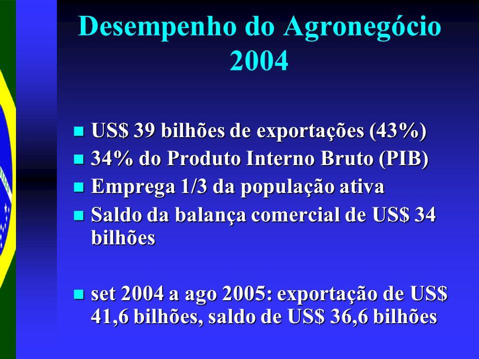 Desempenho do Agronegócio 2004