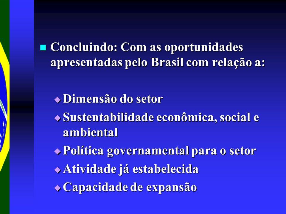 Concluindo: Com as oportunidades apresentadas pelo Brasil com relação a: