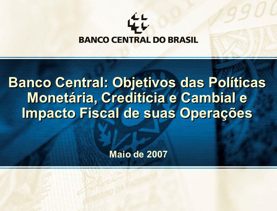 Banco Central: Objetivos das Políticas Monetária, Creditícia e Cambial e Impacto Fiscal de suas Operações