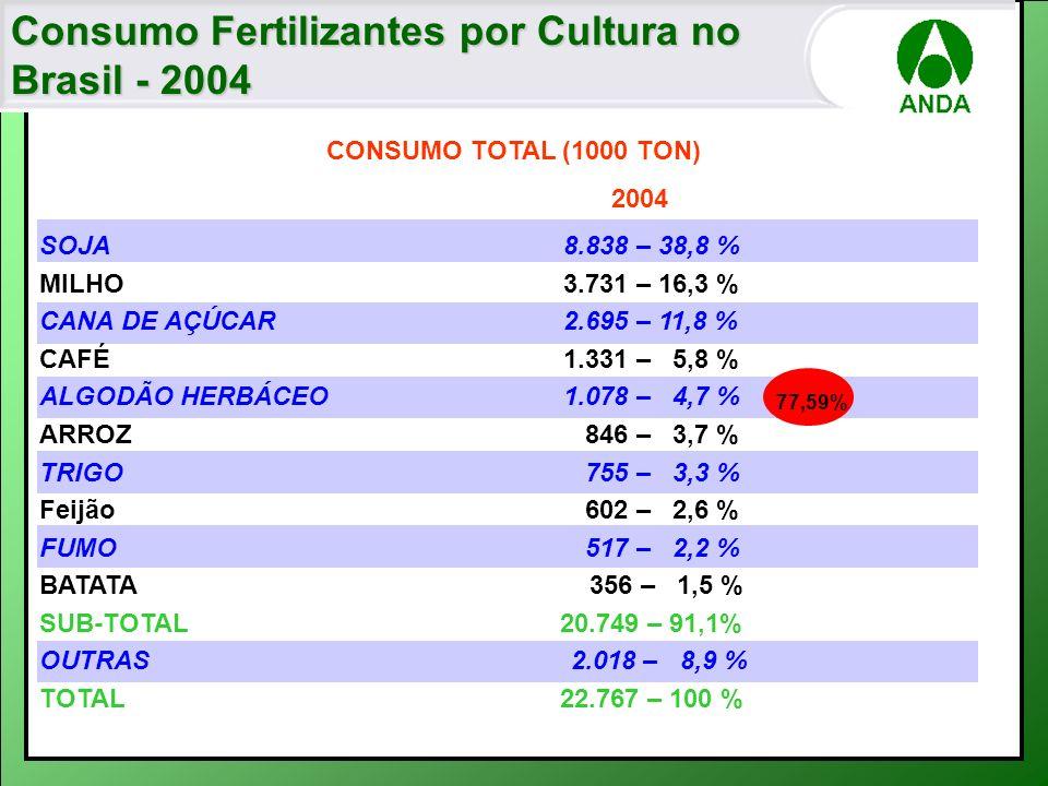 Consumo Fertilizantes por Cultura no Brasil - 2004