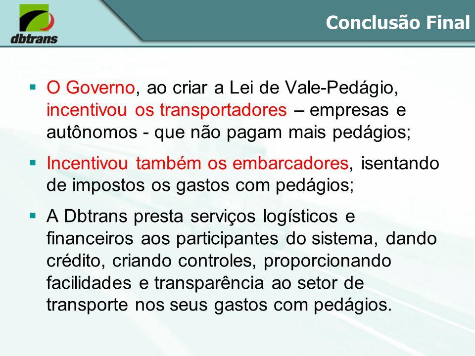 Conclusão Final O Governo, ao criar a Lei de Vale-Pedágio, incentivou os transportadores – empresas e autônomos - que não pagam mais pedágios;