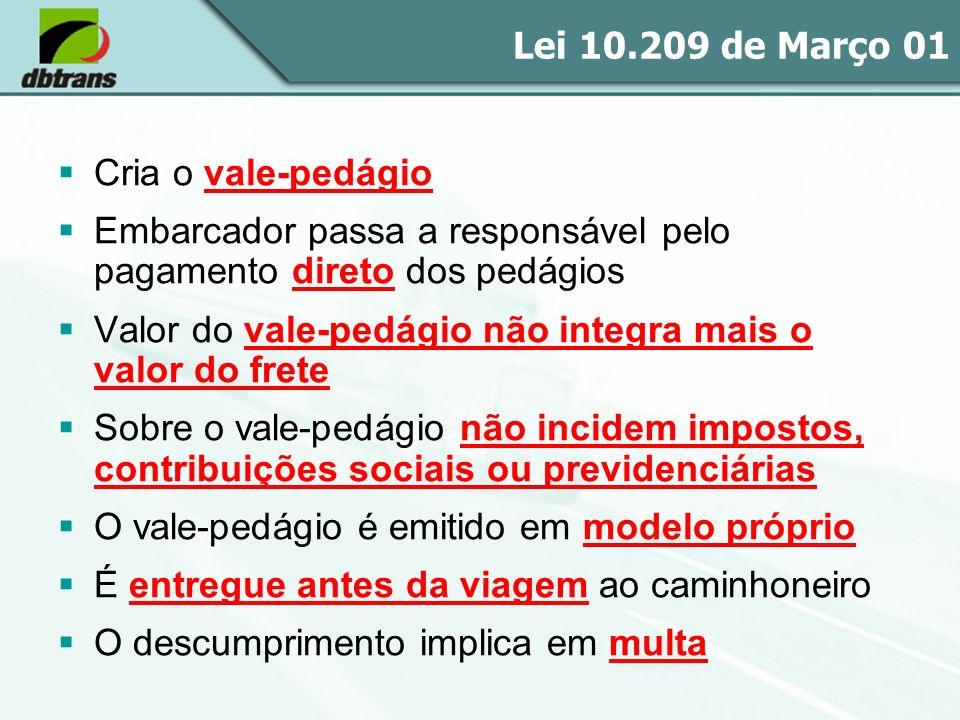 Lei 10.209 de Março 01 Cria o vale-pedágio. Embarcador passa a responsável pelo pagamento direto dos pedágios.