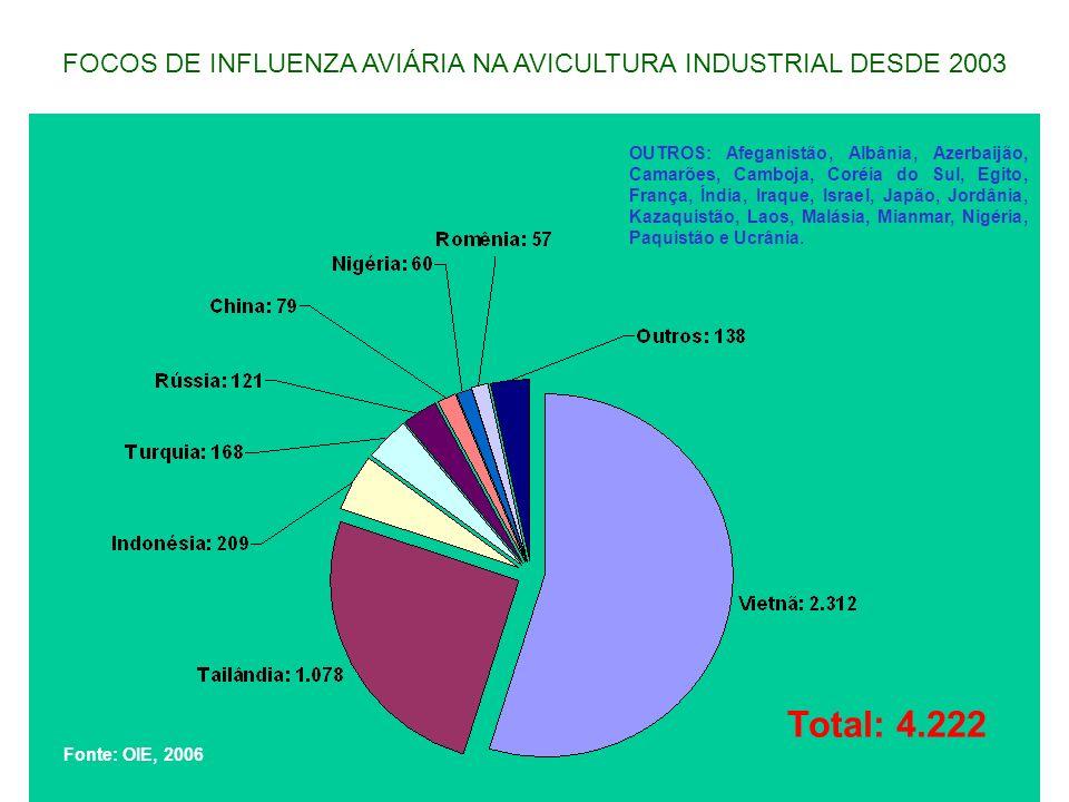 FOCOS DE INFLUENZA AVIÁRIA NA AVICULTURA INDUSTRIAL DESDE 2003
