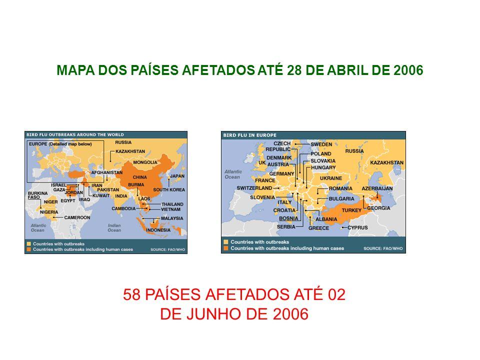 58 PAÍSES AFETADOS ATÉ 02 DE JUNHO DE 2006