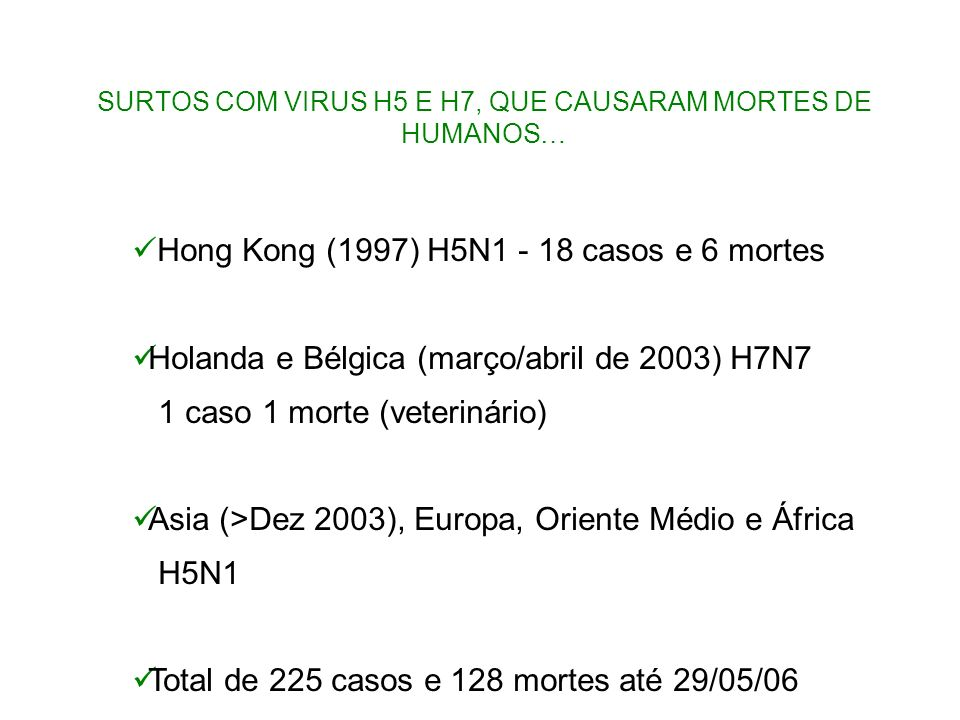 SURTOS COM VIRUS H5 E H7, QUE CAUSARAM MORTES DE HUMANOS…