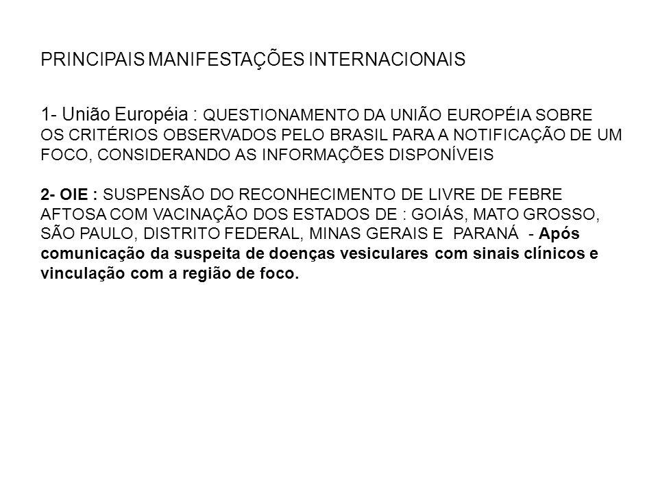 PRINCIPAIS MANIFESTAÇÕES INTERNACIONAIS