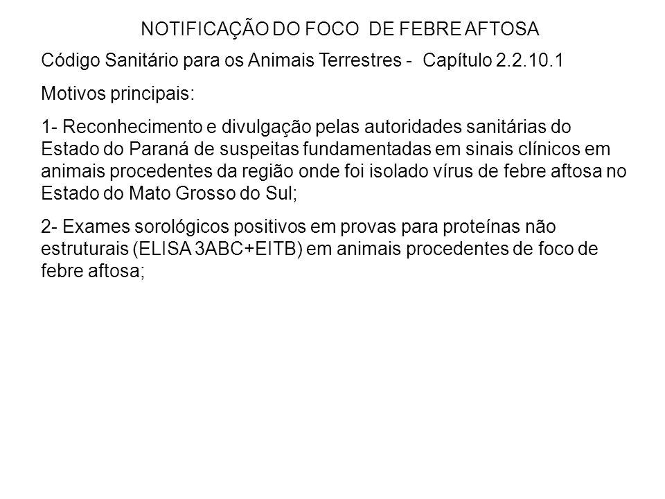 NOTIFICAÇÃO DO FOCO DE FEBRE AFTOSA