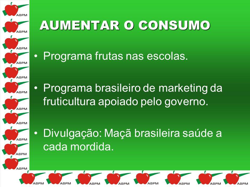 AUMENTAR O CONSUMO Programa frutas nas escolas.