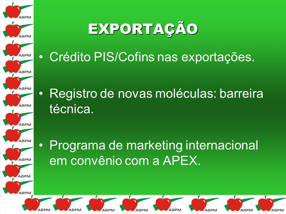 EXPORTAÇÃO Crédito PIS/Cofins nas exportações.