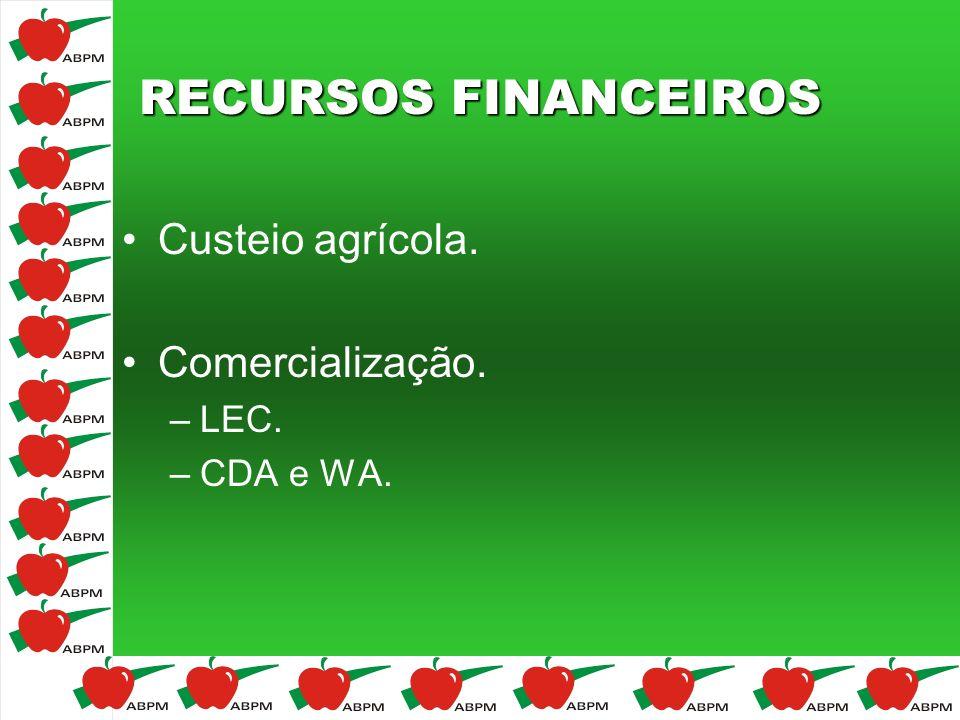 RECURSOS FINANCEIROS Custeio agrícola. Comercialização. LEC. CDA e WA.