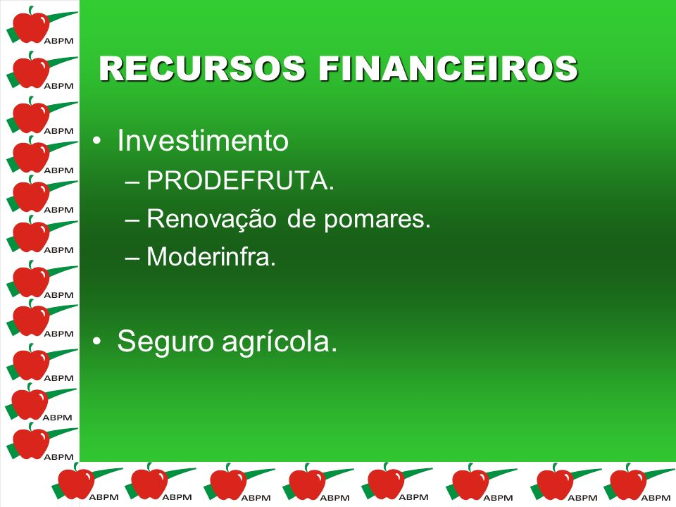 RECURSOS FINANCEIROS Investimento Seguro agrícola. PRODEFRUTA.
