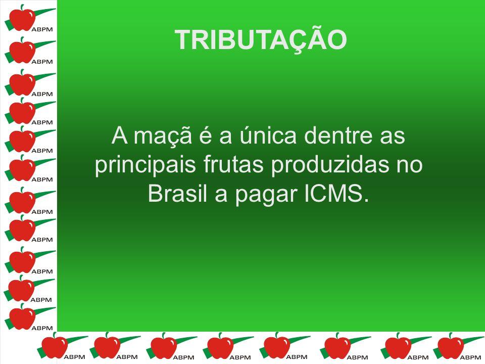 TRIBUTAÇÃO A maçã é a única dentre as principais frutas produzidas no Brasil a pagar ICMS.