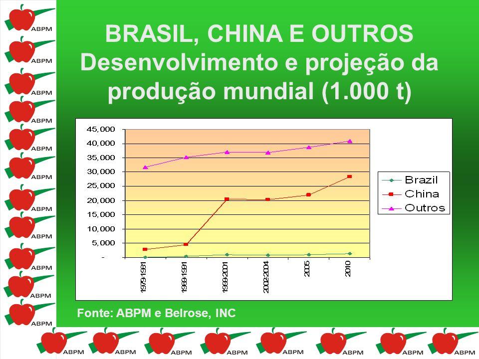 BRASIL, CHINA E OUTROS Desenvolvimento e projeção da produção mundial (1.000 t)